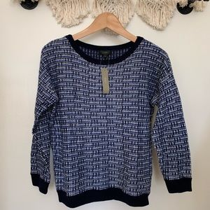 NWT J. Crew Blue Shimmer Tweed Pullover Sweater